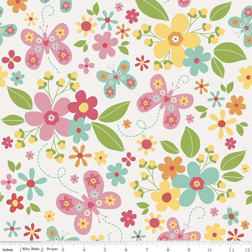 Garden Girl by Zoe Pearn for Riley Blake Designs C5660-white