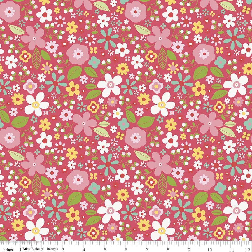 Garden Girl by Zoe Pearn for Riley Blake Designs C5662-raspberry