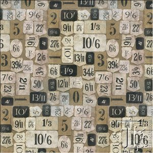 Eclectic Elements Mercantile Yardage Fabric by Tim Holtz PWTH018 Taupe