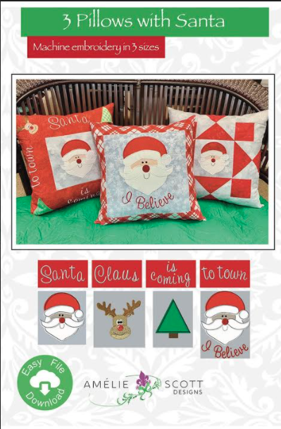 3 Pillows with Santa -Amelie Scott Embroidery Designs