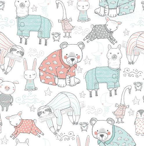 Comfy Flannel Prints Animals White 14416-White