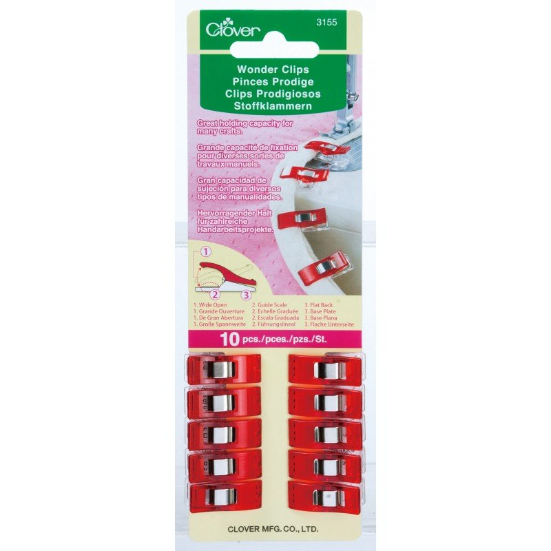 Clover Wonder Clips 10 pcs Red 3155