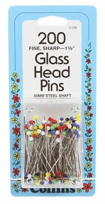 Glass Head Pins  1 3/8- 200 count