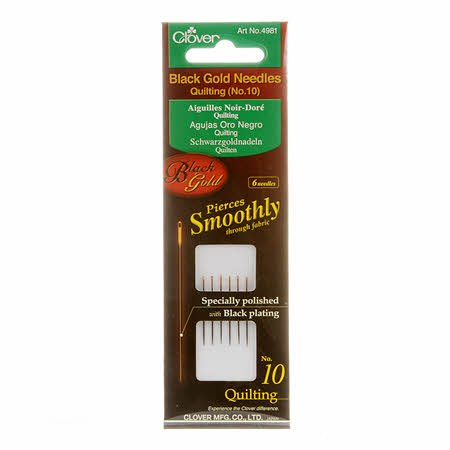 Clover Black Gold Quilting Needle- Size 10 6ct