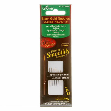 Clover Black Gold Quilting Needles- Assorted 6 Count