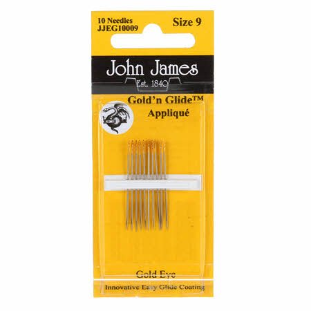 John James Gold'N Glide Applique Needles- Size 9 10ct
