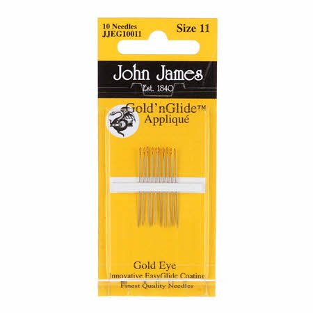 John James Gold'N Glide Applique Needles- Size 11 10ct