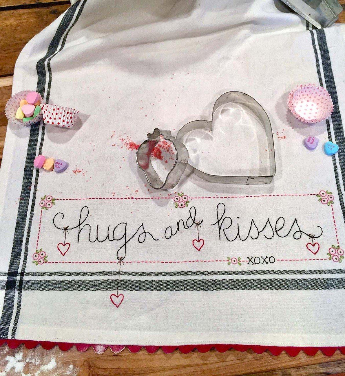 January: Hugs and Kisses Dishtowel Kit - AVAILABLE NOW!