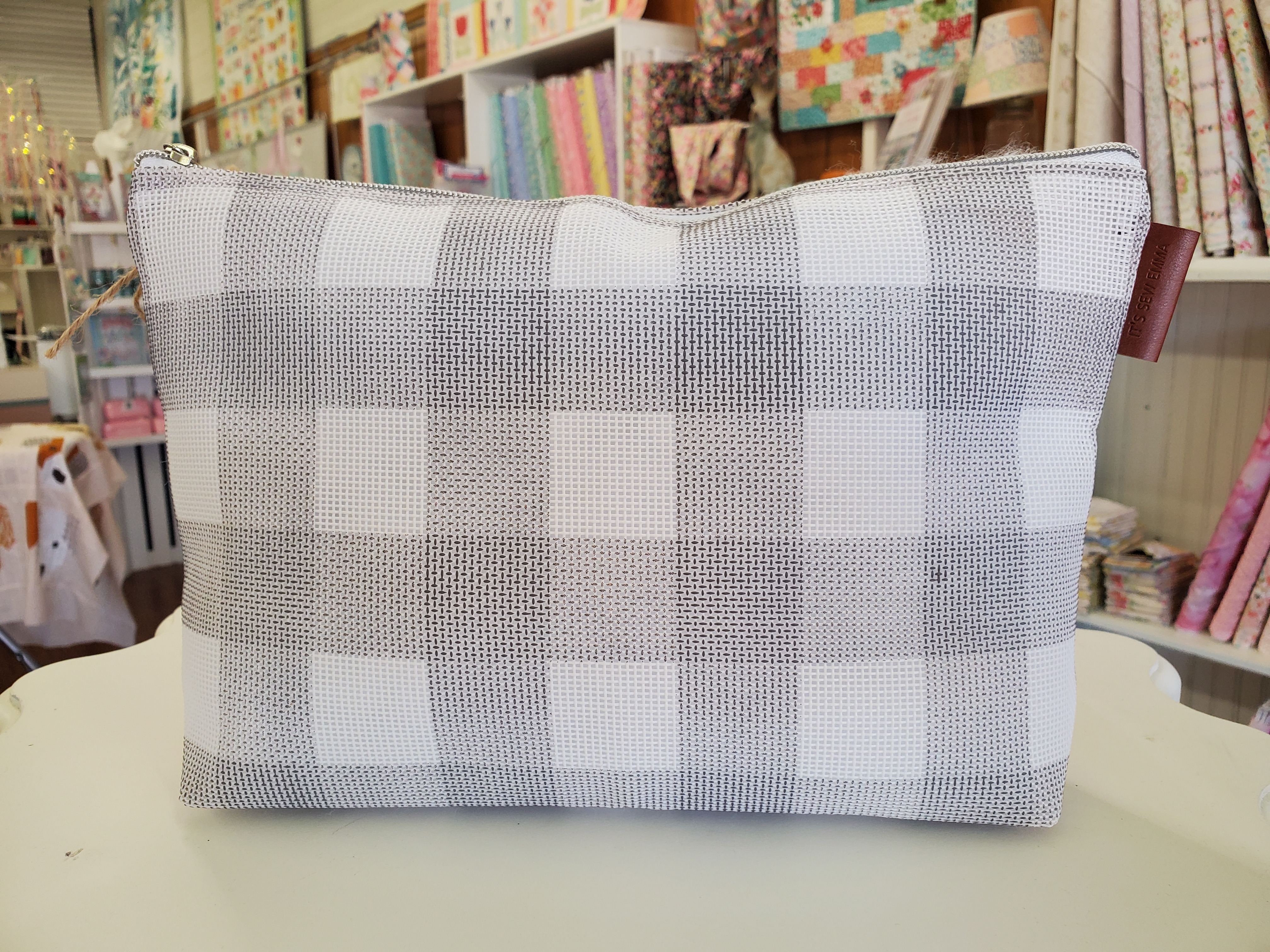Gingham Project Bag SM GRAY
