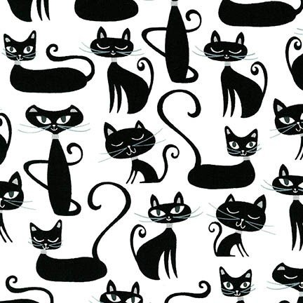 Whiskers & Tails - Black Cats on White