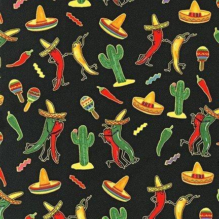 Dancing Peppers on Black - 8830-2