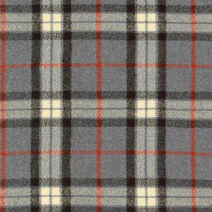 Flannel - Mammoth Gray with Red Plaid