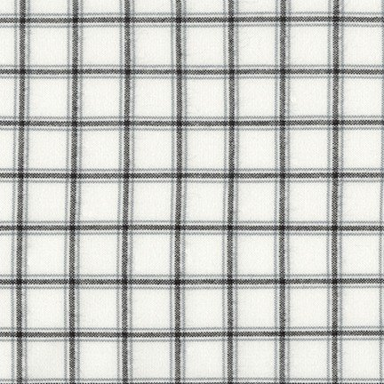 Flannel - Brooklyn Plaid White with Black Lines