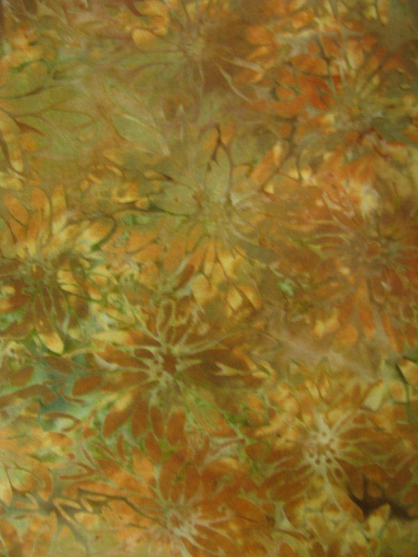 Island Batik green/gold/ orange