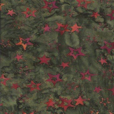 Batik Textiles green stars