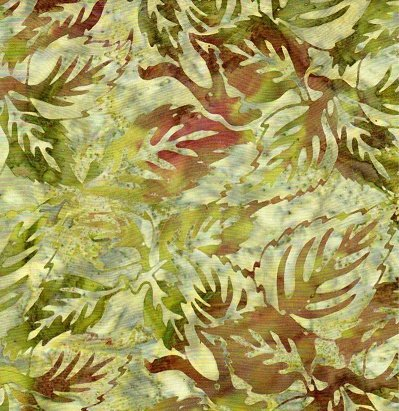 Batik Textiles greens/browns leaves