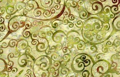 Batik Textiles greens/browns scrolls