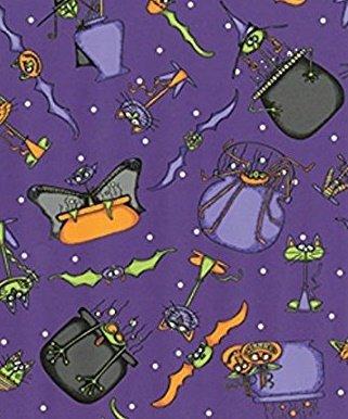 Clothworks Cats, Bats & Vats purple cats, moon, bats & vats
