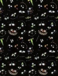 Clothworks Cats, Bats & Vats black/eyes/noses/mouths  1i