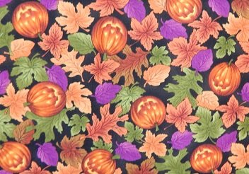 Quilting Treasures Happy Halloween black/multi leaves/pumpkins