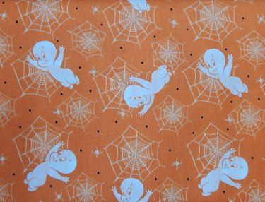 Quilting Treasures Creepy Cute/ friendly ghost/orange