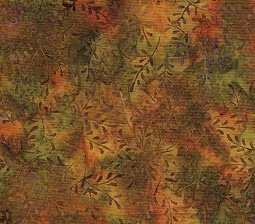 Island Batik Mini Leaf Rust/gold/green  9E