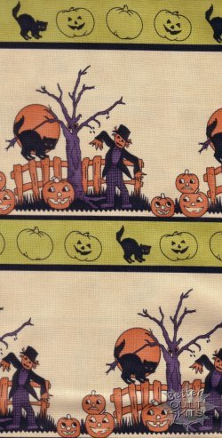 Moda Halloween Night  cream stripe scarecrows/pumpkins  (2C)