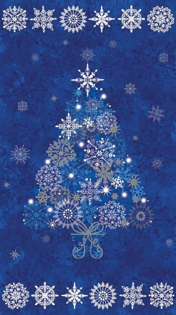 - Northcott Stonehenge Christmas Starry Blue Tree Panel NC 14