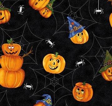 Northcott Scary Night black,webs, pumpkins  (2G)