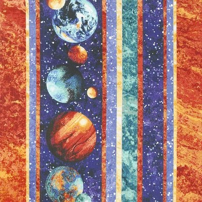 Northcott Out Of This World border stripe/planets, stars