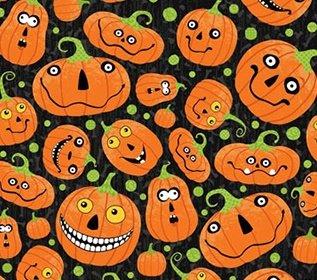 Northcott Hallows black/happy pumpkins 1A