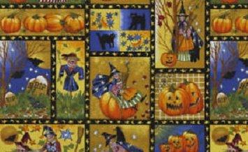 Northcott Harvest Moon multi Halloween scenes