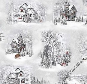 Quilting Treasures Home for the Holidays houses/lt gray