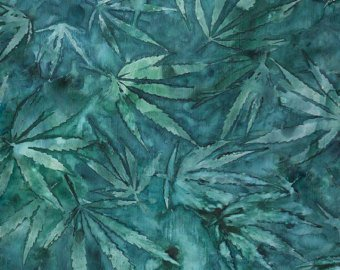 Quilting Treasures Cannabis Teal/leaves