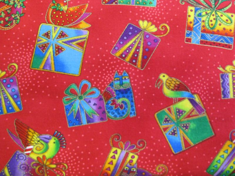 Clothworks Bountiful Blessings Multi colored boxes on red