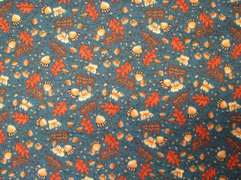 Northcott Ghosts in Pumpkin Patch Oak leaves on blue