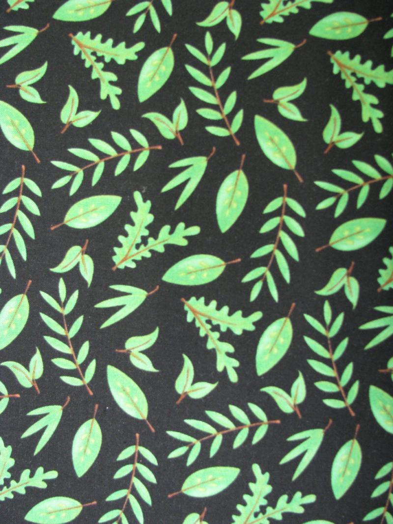 Green leaves on black