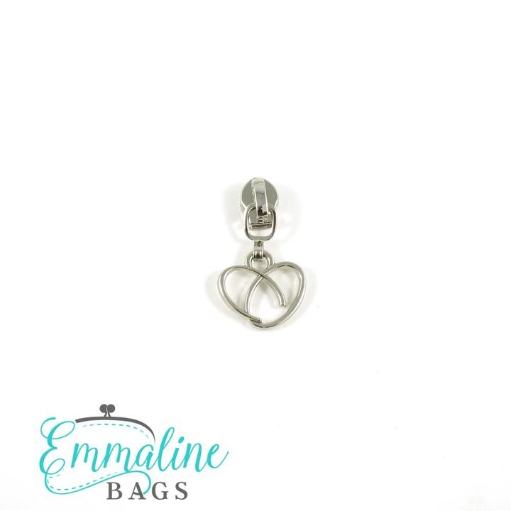 #5 Zipper Sliders with Pulls (10 pk) Heart Pull/Silver