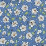 Retro 30's Child Smile White flowers on Blue