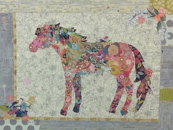 Confetti - Horse Fabric Collage Pattern by Laura Heine