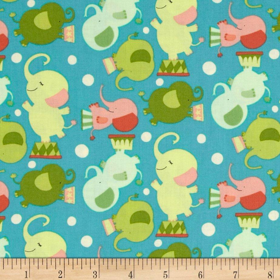 Circus_Act_Elephants_Festive_Fabric by David_Walker_
