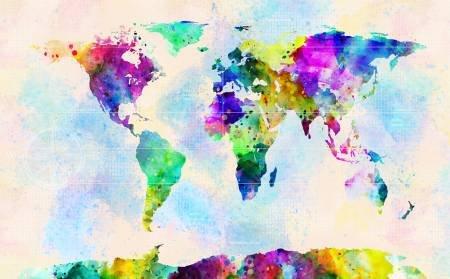 Earth Globe Watercolor Panel (Digital Print)l 26.5in x 42.75in