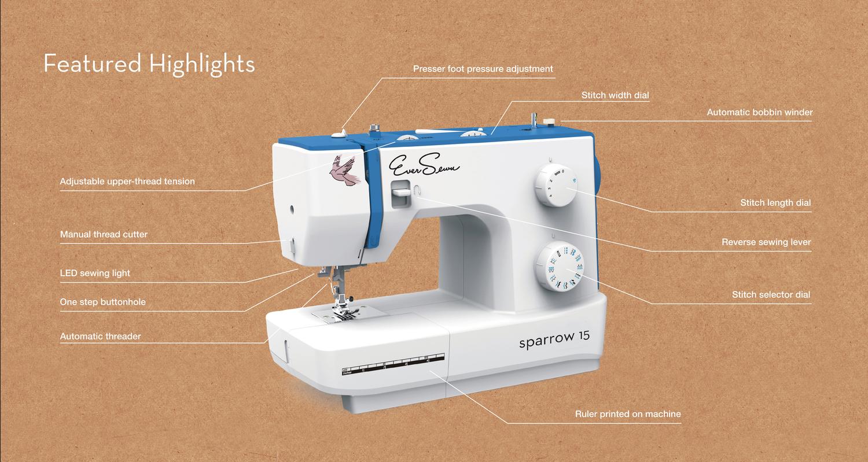 Sparrow 15 - 32 Stitch Mechanical Sewing Machine Eversewn