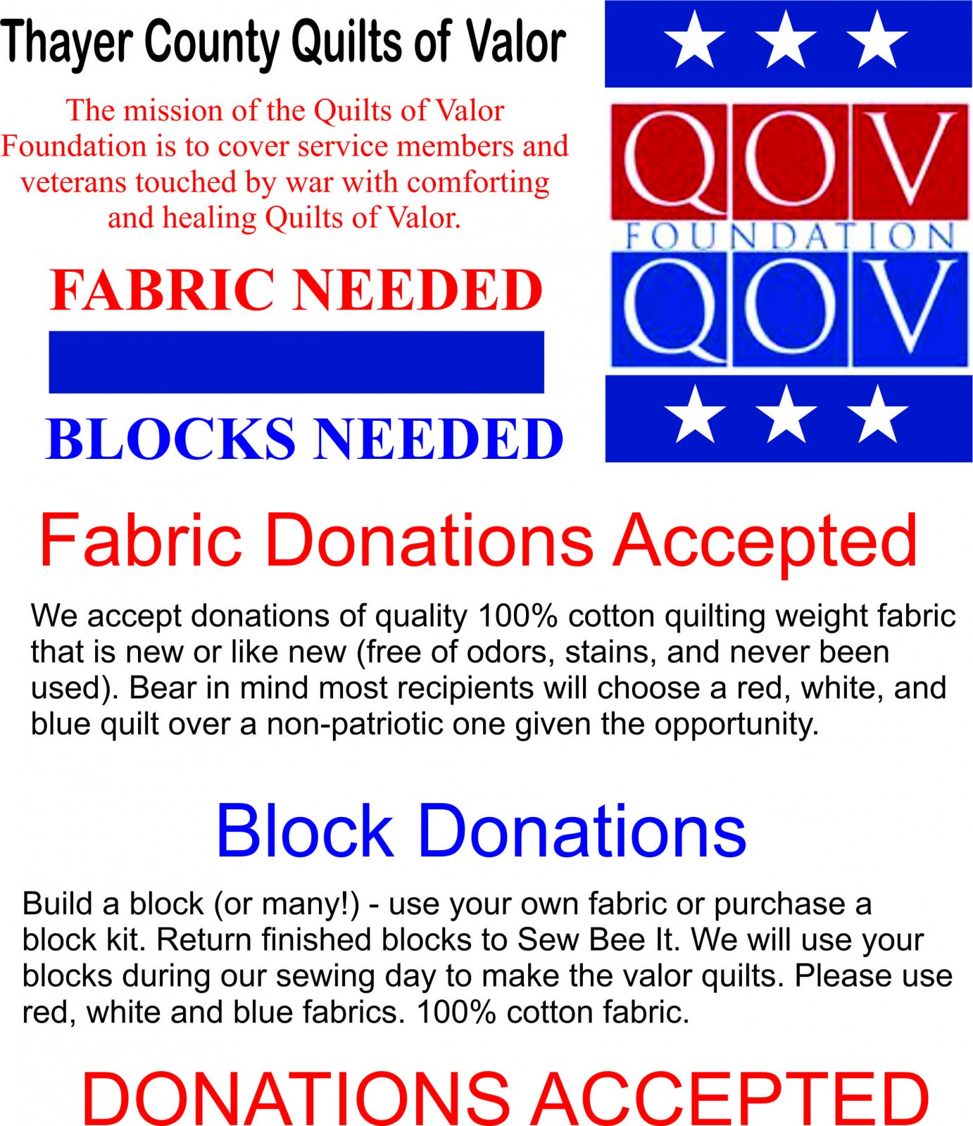 Quilts of Valor Donations Accepted