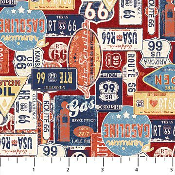 Route 66 - Gas and Route - Red/Multi