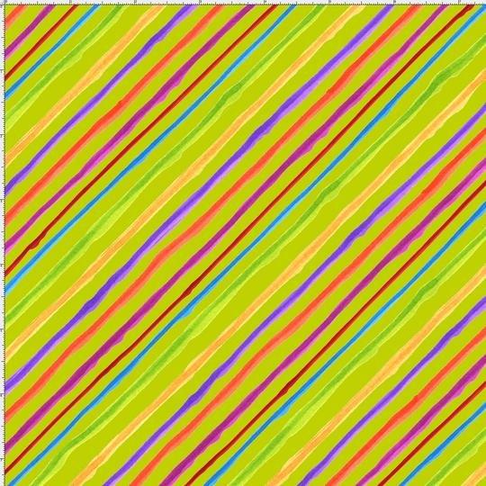 Quirky Bias Stripe~Lime