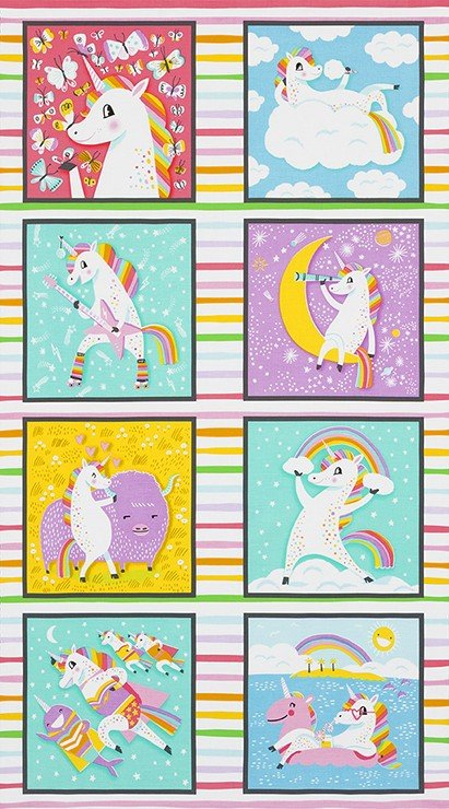 Hello!Lucky - Panel - Magical Rainbow Unicorns - Rainbow