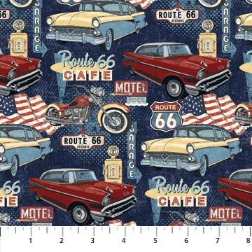 Route 66 - Digital - Cars and Cycles - Navy/Multi