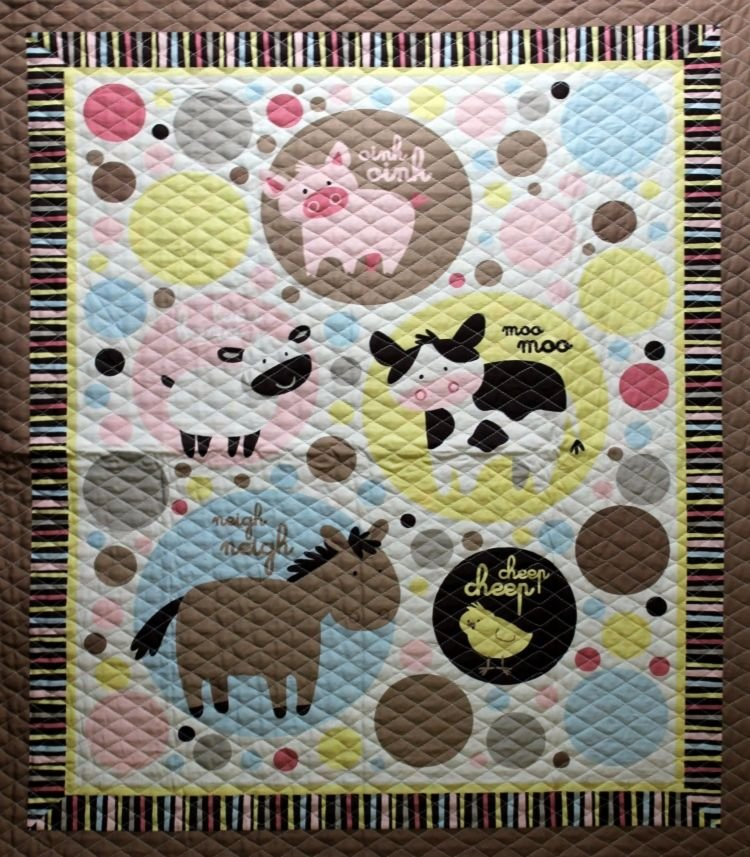 Marshall Dry Goods Double Faced Quilted Animal Talk