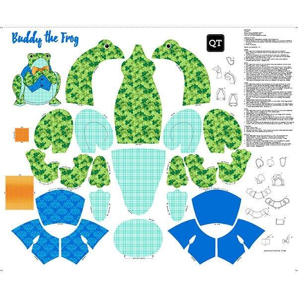 Fabric Panel SEW & GO III BUDDY THE FROG STUFFABLE